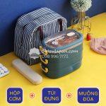 [Kèm Túi + Muỗng Đũa] Bộ Hộp Cơm Giữ Nhiệt INOX 304 Phong Cách Hiện Đại